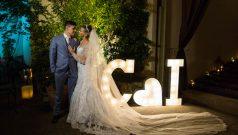 Casamento verde e branco Vestida de Noiva